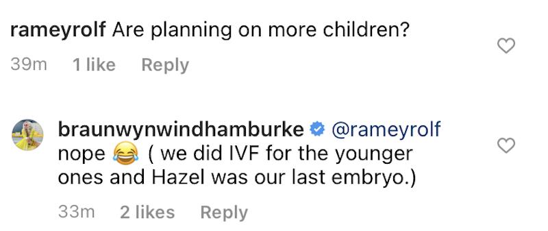 braunwyn windham-burke instagram comment
