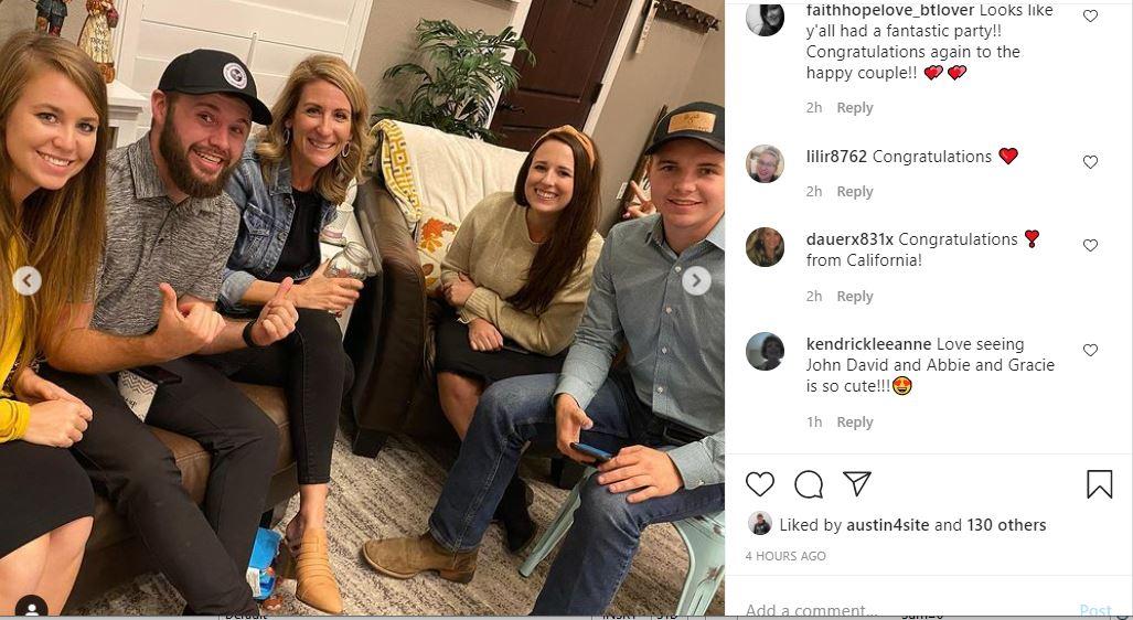 Justin Duggar family at engagement party