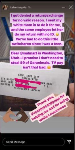 Kalani Faagata claims racism at Walmart