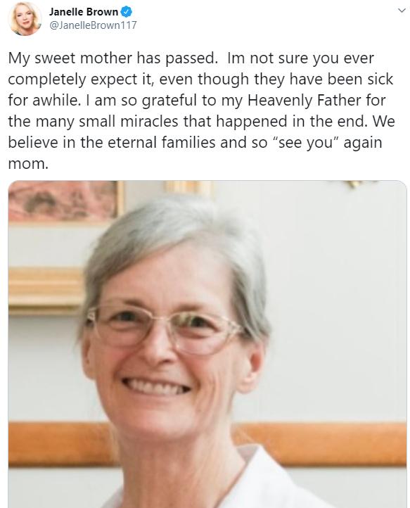 Janelle Brown's Mom, Janelle Brown Twitter Post