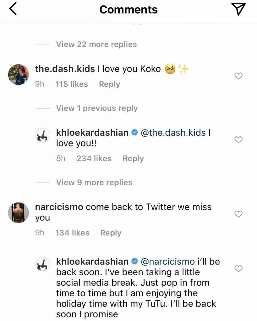 khloe kardashian instagram comment