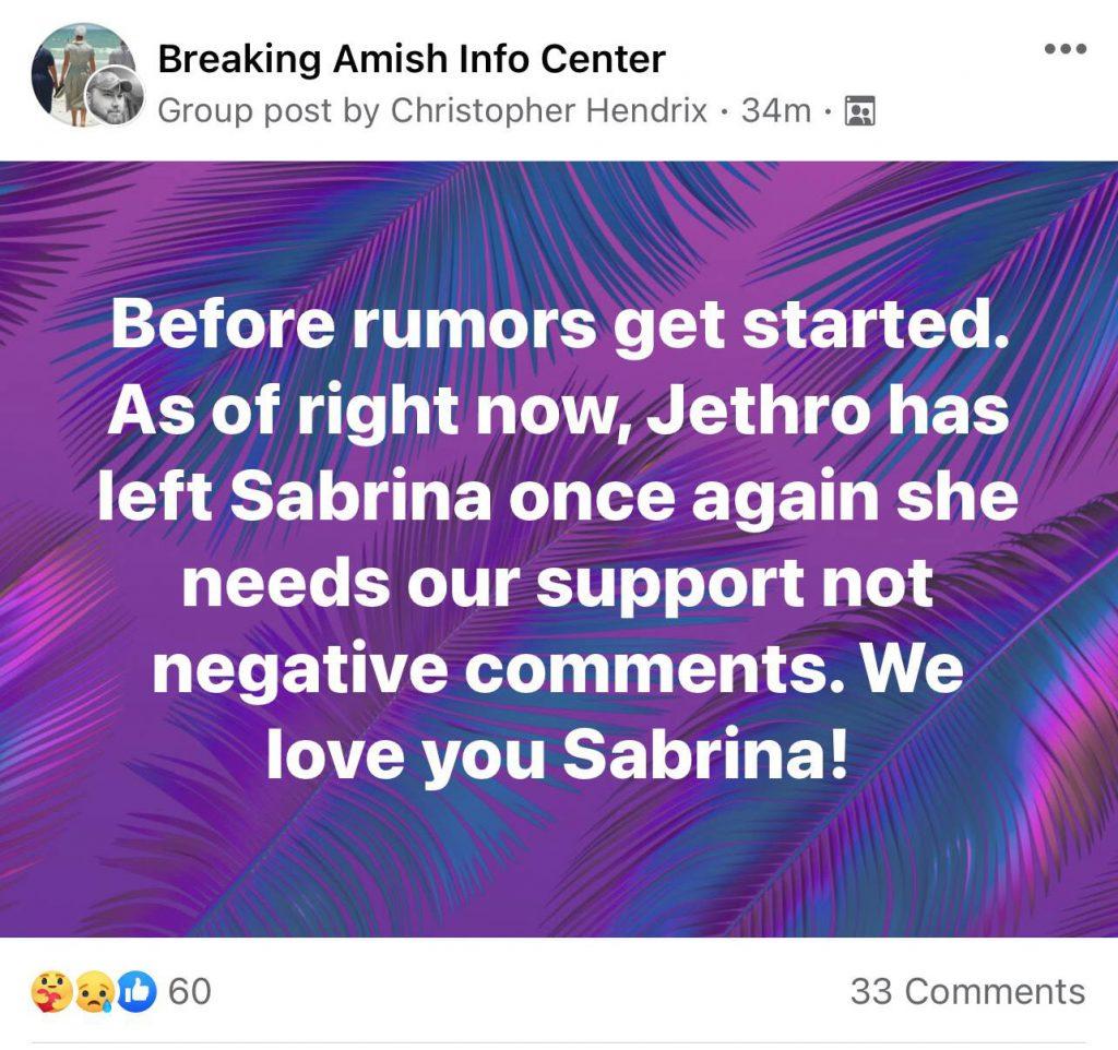 Return to Amish Sabrina Burkholder relationship status Facebook screenshot